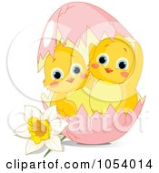Poster, Art Print Of Royalty-Free Vector Clip Art Illustration Of Two Cute Chicks In A Pink Easter Egg By A Daffodil