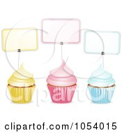 Royalty Free Vector Clip Art Illustration Of Three Yellow Pink And Blue Cupcakes With Labels by elaineitalia
