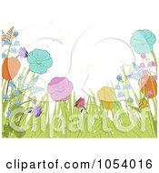 Royalty Free Vector Clip Art Illustration Of A Spring Background Of Flowers Ferns And Grass by elaineitalia