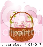 Royalty Free Vector Clip Art Illustration Of Gold And Pink Easter Eggs In A Basket Over Pink Clouds by elaineitalia
