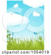 Vertical Spring Background With Puffy Clouds Birds Butterflies Plants And Rays