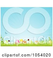 Spring Background Of Butterflies Flowers And Easter Eggs With Grass