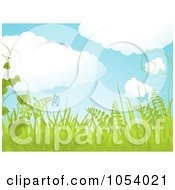 Royalty Free Vector Clip Art Illustration Of A Horizontal Spring Background With Puffy Clouds Birds Butterflies And Plants by elaineitalia
