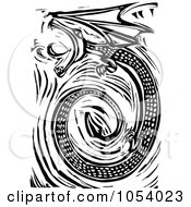 Black And White Woodcut Styled Spiraling Dragon