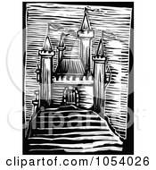 Royalty Free Vector Clip Art Illustration Of A Black And White Woodcut Styled Medieval Castle