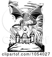 Royalty Free Vector Clip Art Illustration Of A Black And White Woodcut Styled Dragon Over A City