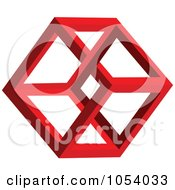 Royalty Free 3d Vector Clip Art Illustration Of A Red Hexagon Shape Logo by vectorace #COLLC1054033-0166