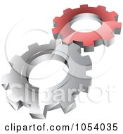 Royalty Free 3d Vector Clip Art Illustration Of A Red And Silver Gears Logo by vectorace #COLLC1054035-0166