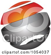Royalty Free 3d Vector Clip Art Illustration Of A Silver And Orange Sphere Logo by vectorace #COLLC1054037-0166