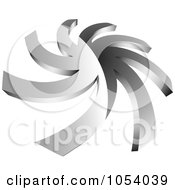 Royalty Free 3d Vector Clip Art Illustration Of A Silver Spiral Logo by vectorace #COLLC1054039-0166