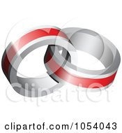 Royalty Free 3d Vector Clip Art Illustration Of A Red And Silver Rings Logo