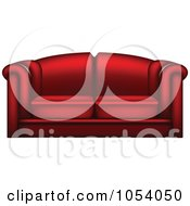 Royalty Free Vector Clip Art Illustration Of A 3d Red Leather Couch by vectorace