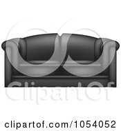 Royalty Free Vector Clip Art Illustration Of A 3d Black Leather Couch by vectorace