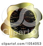 Royalty Free Vector Clip Art Illustration Of A Gold And Black Ornate Vintage Wax Label by vectorace