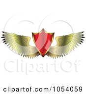 Royalty Free Vector Clip Art Illustration Of A Red Shield With Golden Wings