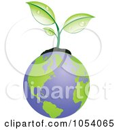 Royalty Free Vector Clip Art Illustration Of A Dewy Green Plant Growing From Earth by vectorace
