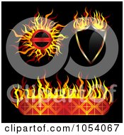 Royalty Free Vector Clip Art Illustration Of A Digital Collage Of Fiery Labels by vectorace