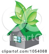 Royalty Free Vector Clip Art Illustration Of Dewy Green Leaves Growing In A Chimney by vectorace