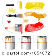Royalty Free Vector Clip Art Illustration Of A Digital Collage Of 3d Paint Brushes And Cans