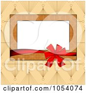 Red Ribbon Around A Brown Frame On Tan