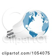Royalty Free Vector Clip Art Illustration Of A 3d White And Blue Light Bulb With A World Map by vectorace