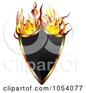Royalty Free Vector Clip Art Illustration Of A Fiery Shield Label by vectorace