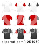 Digital Collage Of 3d Red Black And White Shirts