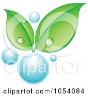 Royalty Free Vector Clip Art Illustration Of Dewy Green Leaves Growing From A Water Bubble