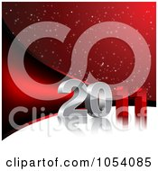 Royalty Free Vector Clip Art Illustration Of A Red And White 3d 2011 New Year Background