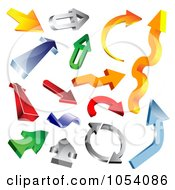 Royalty Free Vector Clip Art Illustration Of A Digital Collage Of 3d Arrow Logos