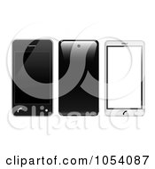 Royalty Free Vector Clip Art Illustration Of A Digital Collage Of 3d Black And White Cell Phones by vectorace
