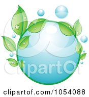 Royalty Free Vector Clip Art Illustration Of A Dewy Circle Of Leaves Around A Water Bubble