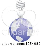 Royalty Free Vector Clip Art Illustration Of A Spiral Light Bulb On Earth