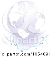 Royalty Free Vector Clip Art Illustration Of A Faint Globe In A Puddle Of Water