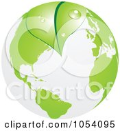 Royalty Free Vector Clip Art Illustration Of A Dewy Green Leaf Overlapping Earth by vectorace