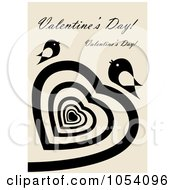 Royalty Free Vector Clip Art Illustration Of A Valentines Greeting With A Black Spiral Heart And Birds Over Beige