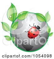 Royalty Free Vector Clip Art Illustration Of A Ladybug On A Gray Globe With Dewy Leaves