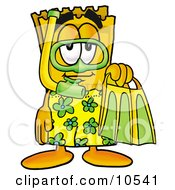 Yellow Admission Ticket Mascot Cartoon Character In Green And Yellow Snorkel Gear