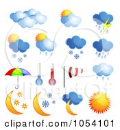 Royalty Free Vector Clip Art Illustration Of A Digital Collage Of 3d Weather Icons by vectorace #COLLC1054101-0166