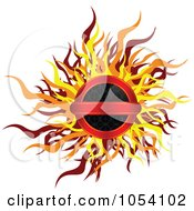 Royalty Free Vector Clip Art Illustration Of A Fiery Round Label by vectorace