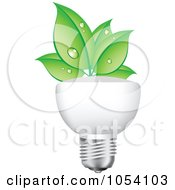 Royalty Free Vector Clip Art Illustration Of Dewy Green Leaves Growing On A Light Bulb by vectorace