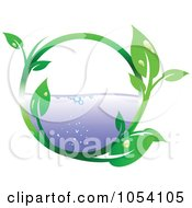 Royalty Free Vector Clip Art Illustration Of A Dewy Leaf Vine Circling Water
