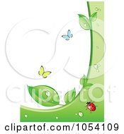 Royalty Free Vector Clip Art Illustration Of An Ecology Background Of Butterflies And A Ladybug With Wet Green Leaves by vectorace