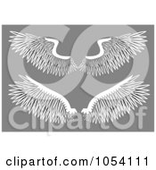 Royalty Free Vector Clip Art Illustration Of A Digital Collage Of Two Pairs Of White Wings