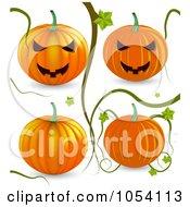Digital Collage Of 3d Vines And Pumpkins