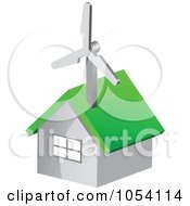 Royalty Free Vector Clip Art Illustration Of A Green Energy House With A Wind Turbine On The Roof by vectorace