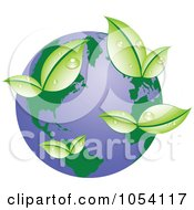 Royalty Free Vector Clip Art Illustration Of A Dewy Green Leaves Sprouting On Earth by vectorace