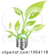 Royalty Free Vector Clip Art Illustration Of Leaves Growing From A Light Bulb by vectorace