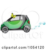 Royalty Free Vector Clip Art Illustration Of A Butterfly And A Green Hydrogen Car