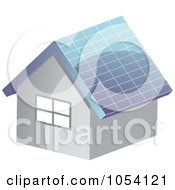 Royalty Free Vector Clip Art Illustration Of A Full Solar Paneled Roof On A House by vectorace